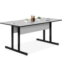 mesa reuniã£o retangular 1,80x0,80 15mm cinza giobel - cinza - dafiti