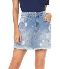 saia jeans my favorite thing(s) curta aplicações azul
