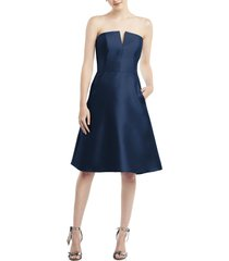 women's alfred sung strapless satin twill cocktail dress, size 2 - blue