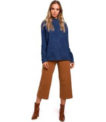 sweater moe m443 effen oversized pullover - denim