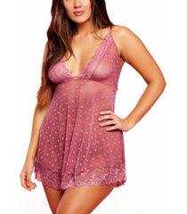 plus size simone floral mesh and lace babydoll 2pc lingerie set