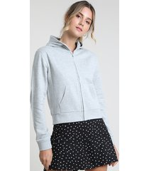 blusão feminino básico em moletom felpado com capuz cinza mescla claro