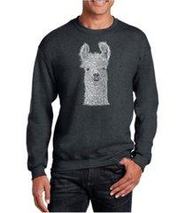 la pop art big & tall men's word art llama crewneck sweatshirt