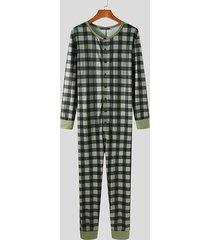 incerun hombre casual plaid button up mono pijama de una pieza para el hogar