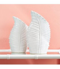 two's company palm beach white palm leaf vases - set of 2
