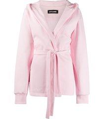 styland belted hoodie jacket - pink
