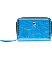 karl lagerfeld zip-up leather wallet - blue