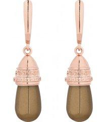 kolczyki z różowym złotem i perłami swarovski® crystal w kolorze miedzianym