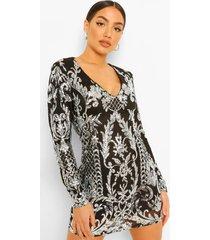 damask mini jurk met lange mouwen en pailetten, black