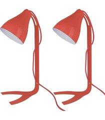02 abajures lamp show lindt, 43x18cm, metal vermelho - vermelho - dafiti