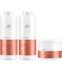 kit wella professionals fusion shampoo + condicionador + máscara tamanho profissional