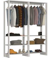 guarda roupa closet 2 peã§as c/ 2 cabideiro branco - branco - dafiti