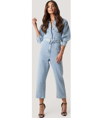 na-kd trend puff sleeve jumpsuit - blue