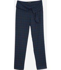 calça dudalina reta amarração xadrez feminina (azul marinho / navy, 48)