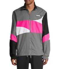 puma men's colorblock jacket - grey - size xl