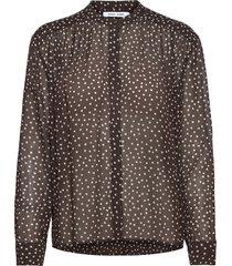 elmy shirt aop 9695 blus långärmad brun samsøe samsøe