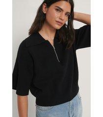 na-kd trend tröja med dragkedja - black