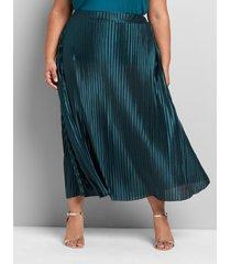 lane bryant women's metallic pleated midi skirt 22/24 green