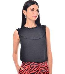 blusa para mujer en crepé negro color-negro-talla-xl