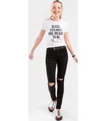 levi's® high rise destructed skinny jeans in black - black
