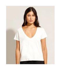 camiseta ampla de algodão básica manga curta decote v off white