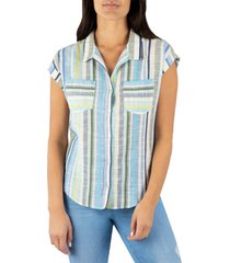 women's kut from the kloth dorrie button-up top, size x-large - blue