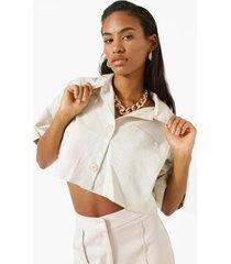 korte linnen blouse, beige