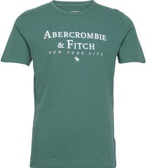 anf mens graphics t-shirts short-sleeved grön abercrombie & fitch