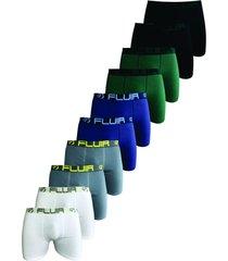 kit 10 cuecas boxer fluir adulto branca/cinza/ az.marinho/verde/preto - azul/azul marinho/branco/preto/verde oliva/vermelho - masculino - algodã£o