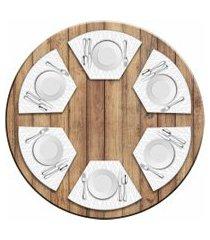 jogo americano love decor  para mesa redonda wevans modern flowers kit com 6 pçs