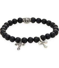 jean claude men's onyx and stainless steel cross charm bracelet - black