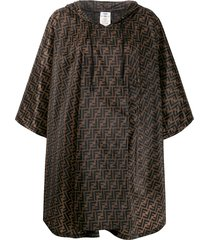 fendi ff motif print flared cape - neutrals