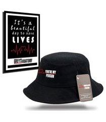 kit chapéu bucket hat com quadro personalizados grey's anatomy - preto