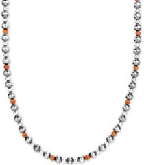 "american west orange spiny oyster & polished bead statement necklace in sterling silver, 25"" + 2"" extender"