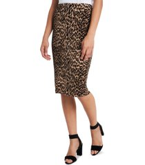 vince camuto petite leopard-print midi pencil skirt