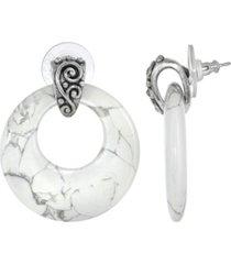 2028 pewter semi precious round howlite hoop earrings