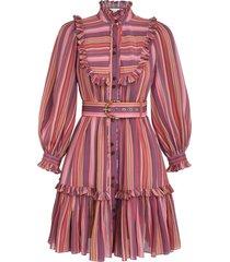viscose swing mini dress in pink/purple stripe