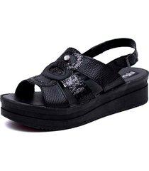 sandalia de cuero negra valentia calzados preta