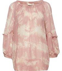 wave blouse blus långärmad rosa rabens sal r