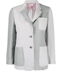 thom browne seersucker combo stripe sack jacket - grey