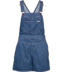 mom bib short jumpsuit blå wrangler