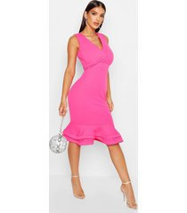 wrap sleeveless fishtail ruffle midi dress, hot pink