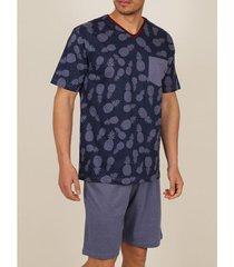pyjama's / nachthemden admas for men binnenshuis te dragen pyjamabroek t-shirt ananas marine adma's