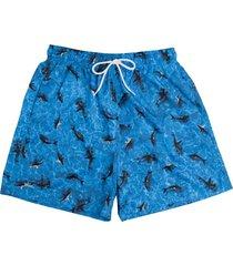 shorts curto de praia estampado peixes 613 mash