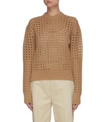 high v-neck open mesh wool blend sweater