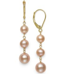 white cultured freshwater pearl (5-8 mm) leverback earrings in 14k yellow gold. also available in black, pink, white pink lavender multi and white gray black multi.