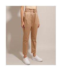 calça clochard alfaiataria com cinto cintura alta bege