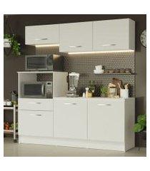 cozinha compacta madesa onix 180001 com armário e balcão branco cor:branco