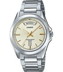 reloj analógico hombre casio mtp-1370d-9a - plateado con beige