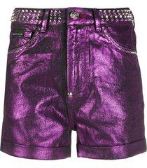 philipp plein spike-studded hot pants - purple